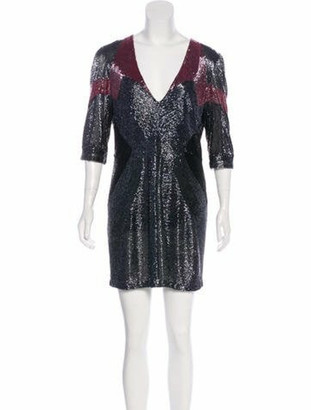 Naeem Khan Beaded Mini Dress Black