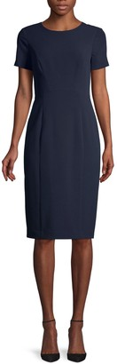 Black Halo Short-Sleeve Sheath Dress