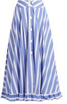 Thierry Colson Romane striped cotton-poplin skirt