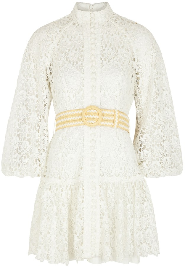 Zimmermann Empire Belted Guipure Lace Mini Dress