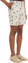Barneys New York Rose-Print Twill Cuffed Shorts