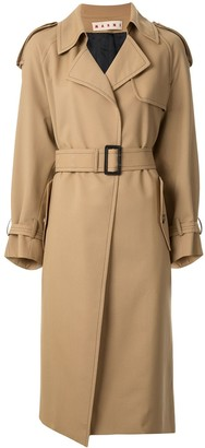 Marni contrast stitch detail trench coat