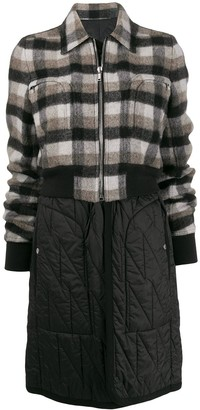 Rick Owens Deconstructed Check Pattern Coat