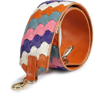 Mianqa Handwoven Leather Strap - White, Pink, Orange & Blue