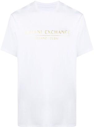 Armani Exchange metallic logo print cotton T-shirt