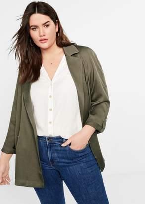 MANGO Violeta BY Soft fabric jacket khaki - XS - Plus sizes