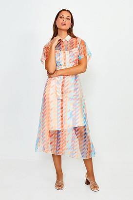 Karen Millen Geo Print Organza Shirt Dress