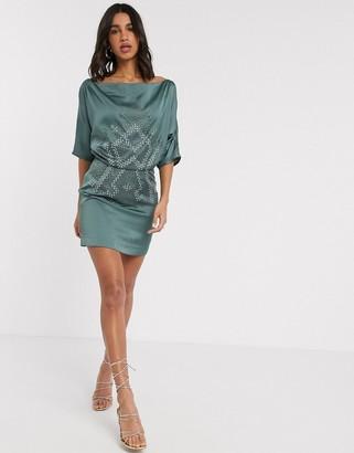 ASOS DESIGN off shoulder satin dress with stud detail in teal