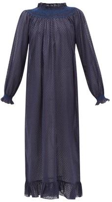 Loretta Caponi - Smocked Swiss-dot Cotton-poplin Dress - Womens - Navy