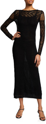 Missoni Long-Sleeve V-Back Knit Maxi Dress