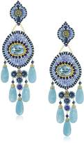 Miguel Ases Gold-Filled, Lapis, and Quartz Five-Drop Earrings
