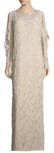 Aidan Mattox Long-Sleeve Embellished-Scroll Caftan, Light Gold