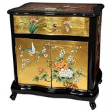 Oriental Furniture Fine Asian 23-Inch Chinese Black Lacquered Gold Leaf End Table Nightstand HA-2019