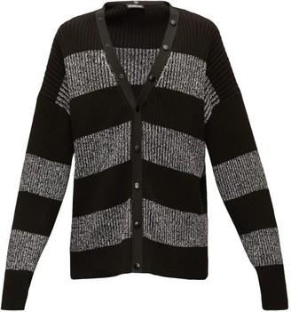 Balenciaga Logo-print Intarsia-striped Cardigan - Mens - Black White