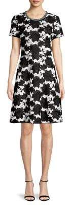 Karl Lagerfeld Paris Floral Embroidered A-Lined Dress