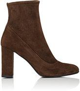 Barneys New York Women's Block-Heel Suede Ankle Boots-DARK BROWN