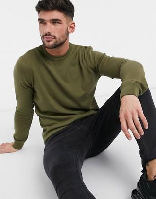 New Look basic crew neck sweater in dark khaki