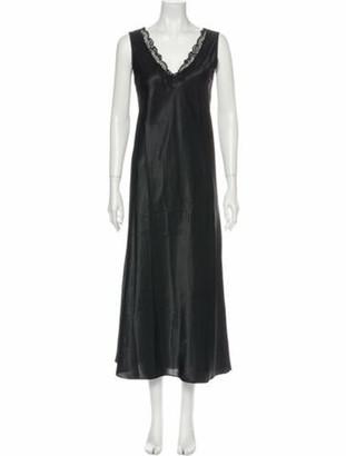 Oscar de la Renta V-Neck Long Dress Black