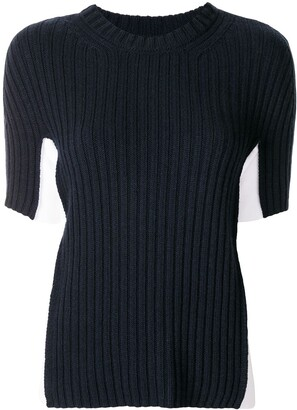 Maison Margiela Two-Tone Ribbed Top