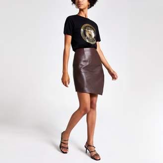 River Island Womens Burgundy asymmetric leather mini skirt