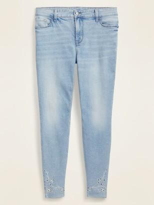 Old Navy High-Waisted Secret-Slim Pockets Floral-Embroidered Rockstar Super Skinny Plus-Size Jeans
