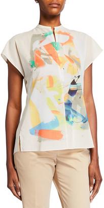 Akris Brushstroke Placed Print Zip-Front Cap-Sleeve Tunic