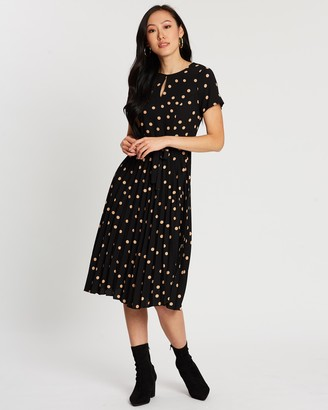 Dorothy Perkins Spot Keyhole Pleated Midi Dress