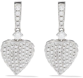 Kiki McDonough 18kt white gold Lauren diamond pave mini leaf earrings