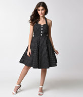 Unique Vintage 1950s Black & White Polka Dot Halter Swing Dress