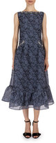 Erdem Floral Jeweled-Trim Sleeveless Midi Dress, Slate Blue