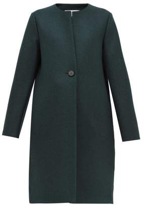 Harris Wharf London Round Neck Pressed Virgin Wool Felt Coat - Womens - Dark Green