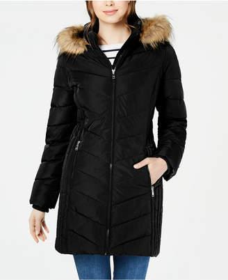Tommy Hilfiger Chevron Faux-Fur Trim Hooded Puffer Coat
