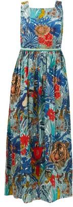 Le Sirenuse Positano Le Sirenuse, Positano - Julia Ranthambore Tiger-print Cotton Maxi Dress - Blue Print