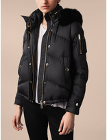Burberry Down-filled Puffer Jacket with Detachable Fur-trimmed Hood