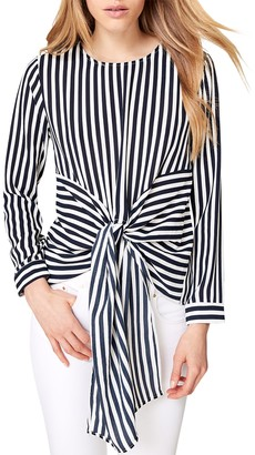 Damsel in a Dress Greta Stripe Tie Waist Blouse, Navy/Ivory