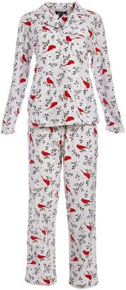 Rene Rofe Women's Sleep Bottoms CONVEROTHR - White & Red Cardinal Fleece Pajama Set - Women