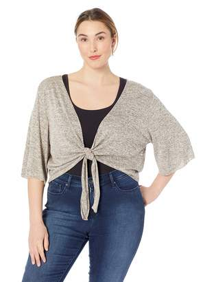 Star Vixen Women's Plus-Size Stretch Hacci Knit Tie-Front Shrug Sweater