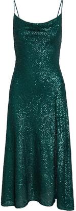 Jonathan Simkhai Draped Sequined Stretch-tulle Midi Slip Dress