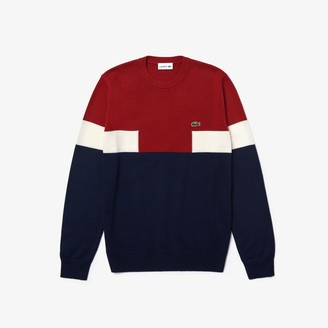 Lacoste Men's Crew Neck Colorblock Wool And Cotton Blend Sweater