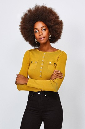 Karen Millen Gold Button Long Sleeve Knitted Top