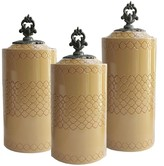 Jay Import Cream Yellow Canisters - Set of 3