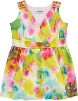 Carrera Pili Girl's Bright Watercolor Floral Dress w/ Buckle Shoulders, Size 4-10