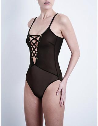 Coco de Mer Women's Black Medusa Mesh Bodysuit, Size: M