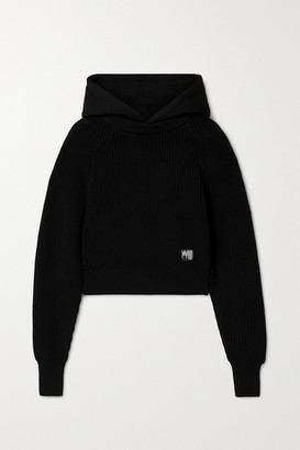 alexanderwang.t Hooded Jersey And Ribbed Cotton-blend Sweater - Black