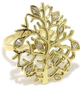 Mikimoto 18K Yellow Gold & 0.12ct Diamond Tree Motif Ring