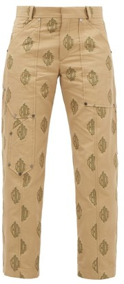 Chloé Logo-jacquard Cropped Cotton Trousers - Beige