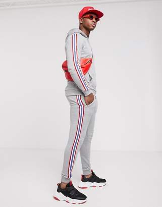 Asos Design DESIGN tracksuit hoodie with knitted side stripe in grey marl