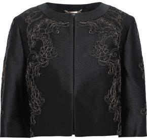 Alberta Ferretti Cropped Lace-appliqued Twill And Metallic Cloque Jacket