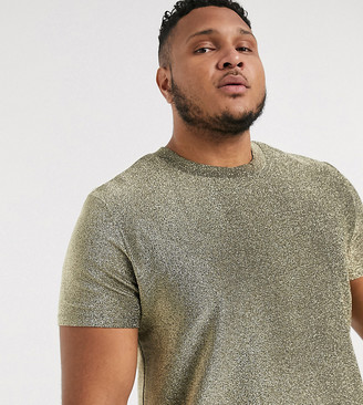 ASOS DESIGN Plus festival t-shirt in sparkly fabric in gold