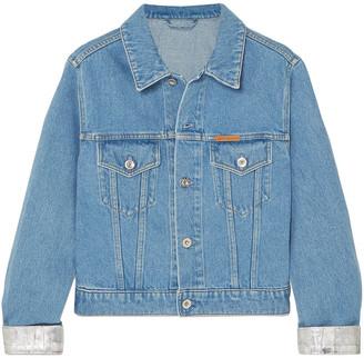 Paco Rabanne Cropped Metallic-trimmed Denim Jacket